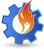 Human flame gear logo — Stock Vector