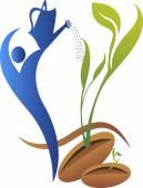Growth leaf plant logo — Vector de stock