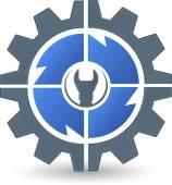 Gear spanner logo — Stock Vector