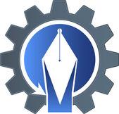 Factory pen logo — Stock vektor