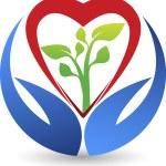 Heart care leaf logo — Stock Vector #58144099