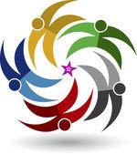 Five star couple logo — Stock Vector