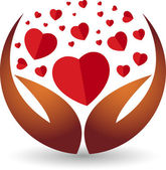 Hand heart logo — Stock Vector