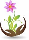 Hand flower logo — Stock Vector