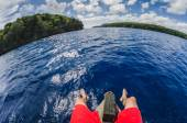 Sitting on a boat in tropocal islands — Stock Photo