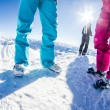 Skiers at the mountaintop — Stock Photo #63339023
