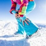 Female model posing her ski boots — Stock Photo #63339031