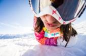Girl snowboarder sending you a kiss — Photo