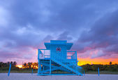 Miami Beach Florida,  colorful lifeguard house — Stock Photo