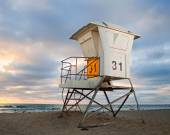 San Diego California lifeguard house at sunset — Stock fotografie