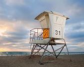 San Diego California lifeguard house at sunset — Stock Photo