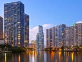 City of Miami Florida sunset skyline — Stock Photo