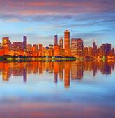 City of Chicago USA at sunset — Stock Photo