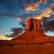 Monument Valley, USA colorful sunrise or sunset with dramatic clouds — Stock Photo #63762729
