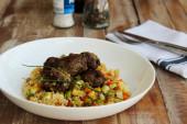 Healthy quinoa and meatballs — Stock Photo