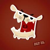 Cute funny angry dog — Stock Vector