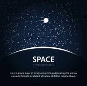 Space background with planet and satellite — Stock Vector