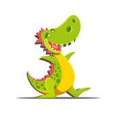Happy cute cartoon dinosaur — Stock Vector