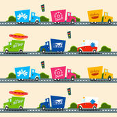 Urban cargo trucks  pattern — 图库矢量图片
