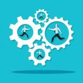 Businessmen running in  cogwheel machine. — Stock Vector