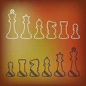 Complete set of vector silhouettes chess pieces — 图库矢量图片