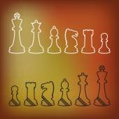 Complete set of vector silhouettes chess pieces — Vettoriale Stock