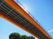 Metalic orange bridge — Stock Photo