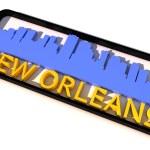 New orleans usa logo s základní barvy vlajky města na bílém 3d design — Stock fotografie #53322915