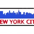 New York City USA logo with the base colors of the flag of the city on white 3D design — Stock Photo #53322923