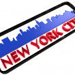 New York City USA logo with the base colors of the flag of the city on white 3D design — Stock Photo #53322929