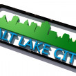 Salt Lake City USA logo with the base colors of the flag of the city on white 3D design — Stock Photo #53323027