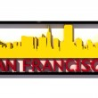 San Francisco USA logo with the base colors of the flag of the city on white 3D design — Stock Photo #53323041