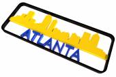 Atlanta USA logo with the base colors of the flag of the city on white 3D design — Stock Photo