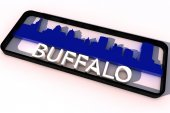 Buffalo USA logo with the base colors of the flag of the city on white 3D design — Stock Photo