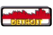 Detroit USA logo with the base colors of the flag of the city on white 3D design — Stock Photo