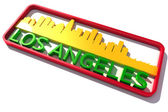 Los Angeles USA logo with the base colors of the flag of the city on white 3D design — Stock Photo