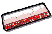 Washington D.C. USA logo with the base colors of the flag of the city on white 3D design — Stock Photo