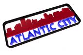 Atlantic City logo with the base colors of the flag of the city on white 3D design — Stock Photo