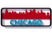 Chicago logo with the base colors of the flag of the city on white 3D design — Stock Photo