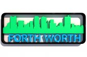 Forth Worth logo with the base colors of the flag of the city on white 3D design — Stock Photo