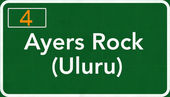 Ayers Rock Uluru Australia Highway Road Sign — Stock Photo