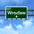 Wroclaw Poland Highway Road Sign — Stock Photo #69985525