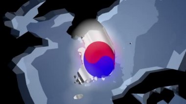 South Korea with flag on world map — Stock Video