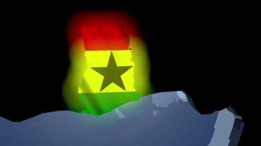 Ghana with flag on world map — Stockvideo