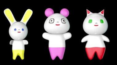 Japanese Kawaii Figures — Stock Video