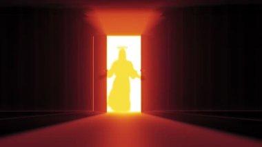 Mysterious Door with Jesus shape — Stock Video