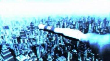 Nuclear Rocket in Metropolis — Stock Video