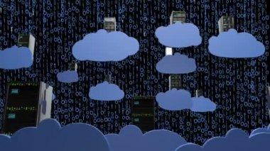 Yaratıcı kavram bilgisayar bulutu sunucuları — Stok video