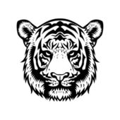 Tiger Head BW — Stock Vector