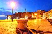 Rovinj with night-time lighting, Croatia — Stock Photo
